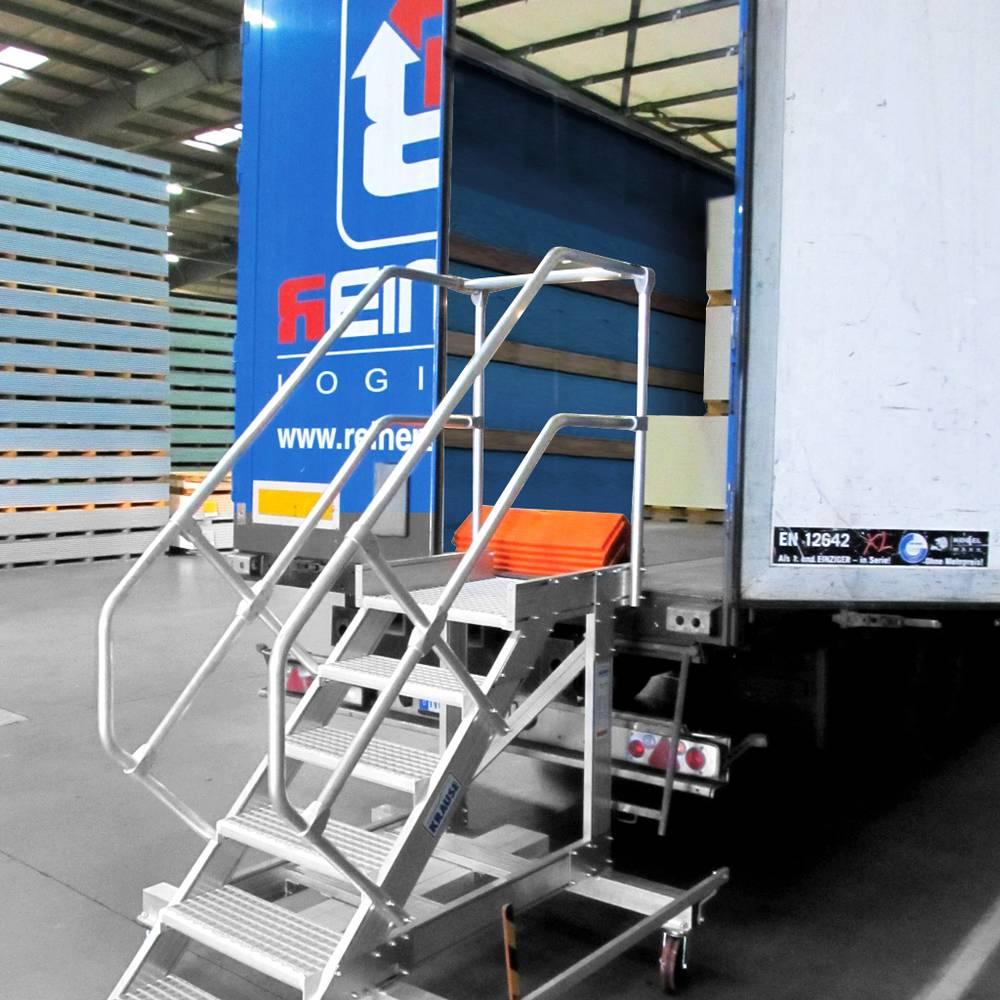 Fahrbare Plattformtreppe mit Zentralbremse als LKW-Zugang