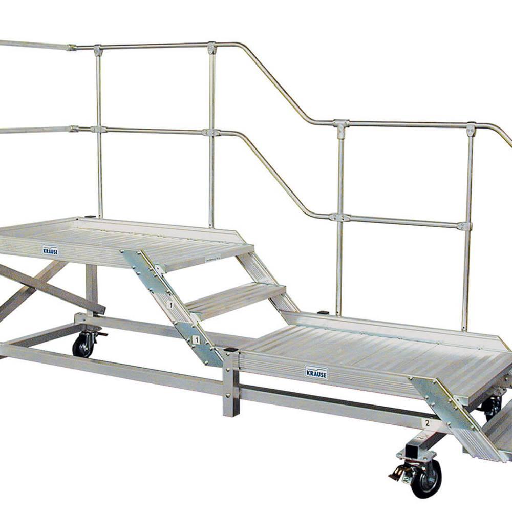 Fahrbarer Maschinenpodest mit einseitigem Geländer