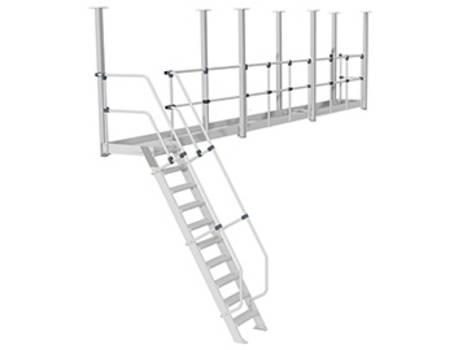 Abgehängte Dacharbeitsbühne als fest installierte Arbeitsbühne an der Deckenkonstruktion