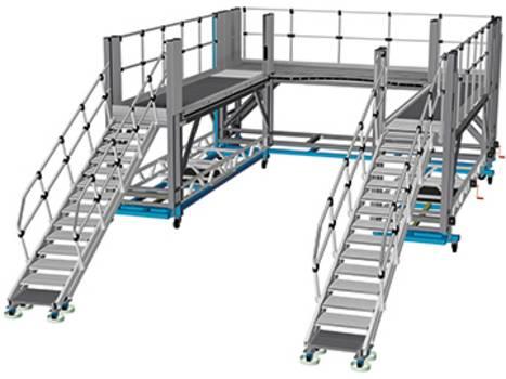 Fahrbare Frontarbeitsbühne aus Aluminium als Zugang zur Front des Zuges