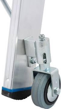 Stufen-Doppelleiter, fahrbar - 4 versenkbare Federrollen (Rollstop-System)