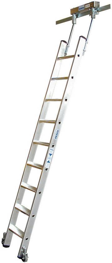 Aluminium-Stufen-Regalleiter mit integriertem Kopffahrwerk-System für T-Schienenanlage.