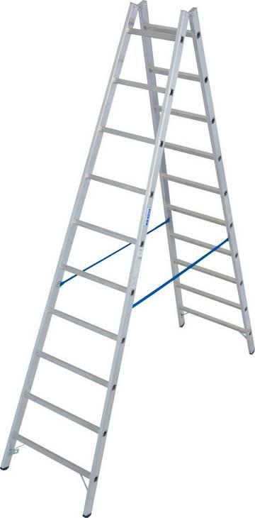 Profi-Aluminium-Doppelleiter mit gebördelten Sprossen und verschraubten Metallgelenken für maximale Stabilität.