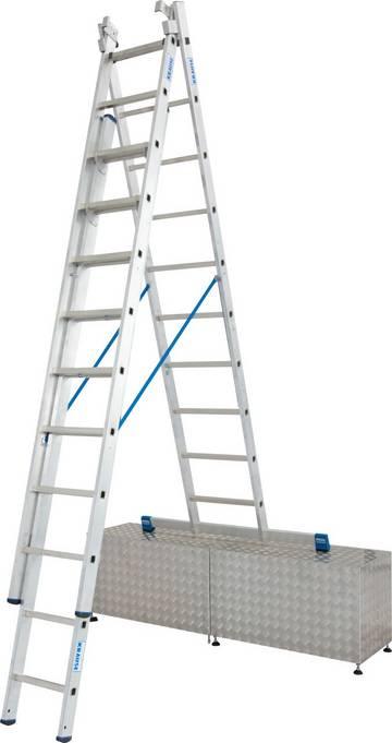 Dreiteilige Aluminium-Vielzweckleiter für professionelle Ansprüche, einsetzbar als Anlege-, Schiebe- und Stehleiter mit ausschiebbarem und einzeln herausnehmbarem Leiternteil.