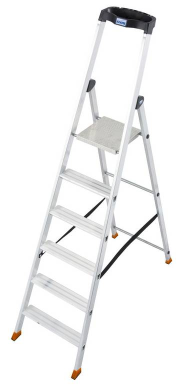 Robuste und langlebige Aluminium-Stehleiter mit hochfest verbördelten Stufen und extrem rutschhemmender Plattform.
