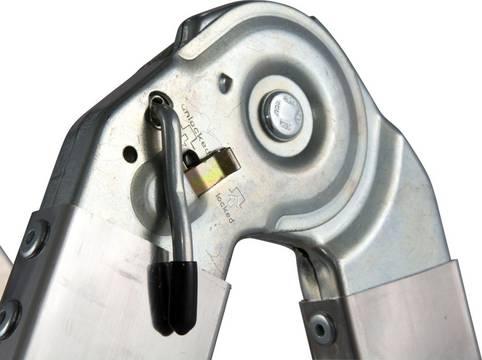 Sprossen-Gelenk-Teleskopleiter mit 4 Holmverlängerungen - Ausrasthebel zur komfortablen Entriegelung des Gelenks