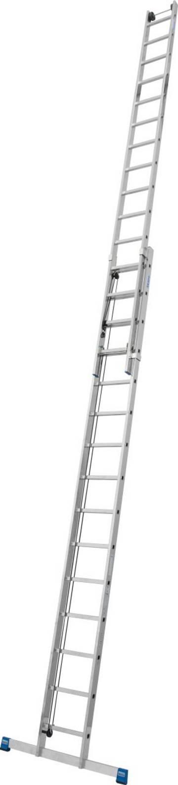 Zweiteilige Sprossen-Seilzugleiter für den professionellen Einsatz in großen Arbeitshöhen bis 13,10 m mit Wandlaufrollen zum komfortablen Ausfahren der Leiter.