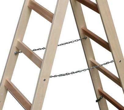 Sprossen-Doppelleiter Holz - Spreizsicherung durch Ketten