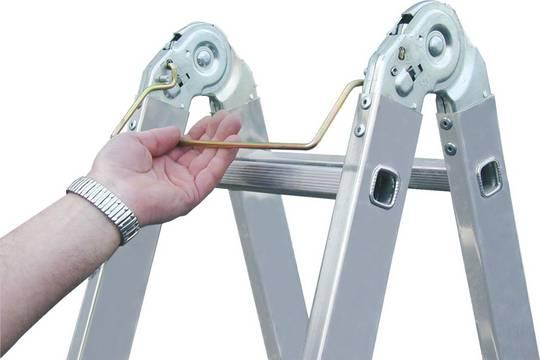 Sprossen-Gelenk-Doppelleiter - Patentiertes Sicherheitsrastgelenk mit Einhandbedienbügel (Speedmatic-System) für schnelle und komfortable Bedienung