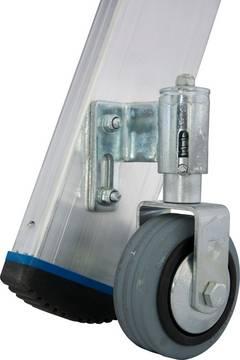 Stufen-Stehleiter, fahrbar- Leicht und schnell verfahrbar durch 4 integrierte Fahrrollen (Rollstop-System)