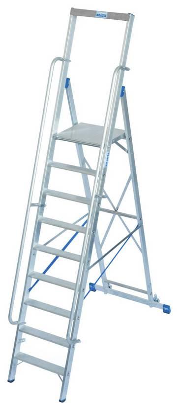 Fahrbare Stufen-Plattformleiter mit großer, komfortabler Standfläche und Sicherheitsbügel.