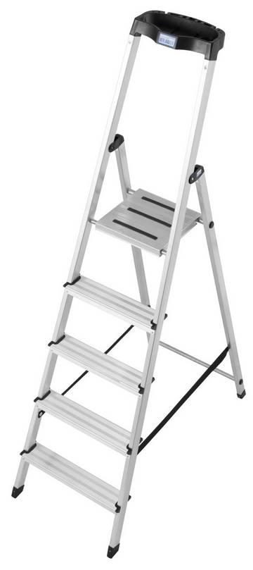 Die leichte und sichere Stufen-Stehleiter mit ergonomisch geformter Multifunktionsschale und rutschhemmender Plattform.