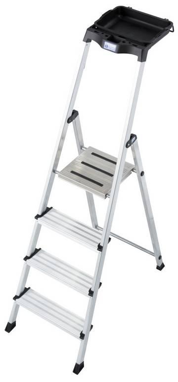 Die praktische und vielfältige Stufen-Stehleiter mit nahezu unbegrenzten Ablagemöglichkeiten, Eimerhalterung und rutschhemmender Plattform.