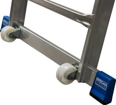 Teleskop-Plattformleiter Stabile Quertraverse mit integrierten Fahrrollen für einen sicheren Stand und einen leichten Transport der Leiter
