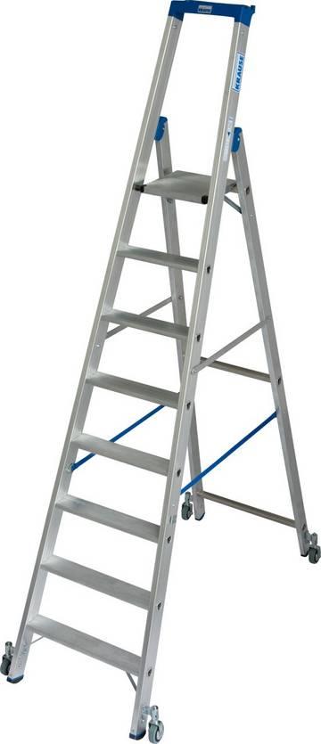 Die robuste Aluminium-Stehleiter mit Multifunktionsschale und Fahrrollen für den mobilen Einsatz.