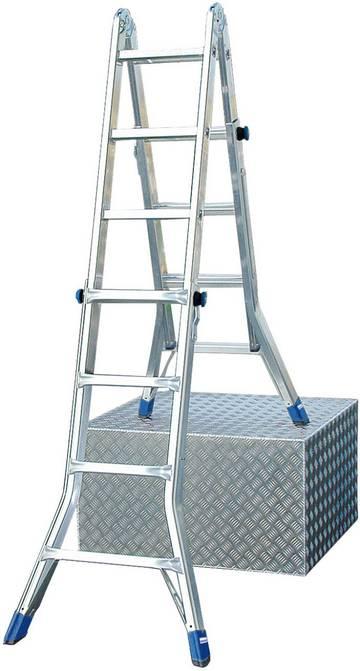 Verstärkte, höhenverstellbare Sprossen-Gelenkleiter für den professionellen Einsatz als Anlegeleiter, beidseitig begehbare, treppengängige Stehleiter oder Arbeitsbühne (in Verbindung mit optionalem TeleBoard).