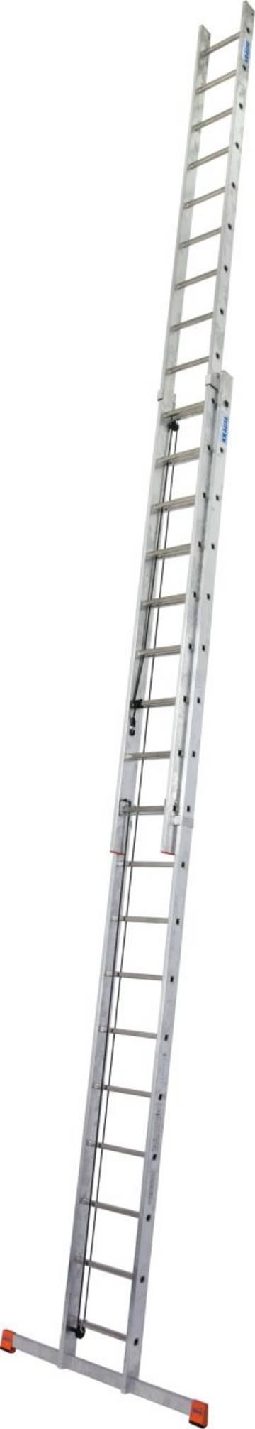 Leichte, zweiteilige Aluminium-SprossenSeilzugleiter mit komfortabler Höhenverstellung.