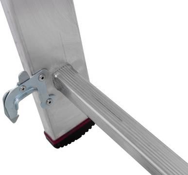 Alu Vielzweckleiter mit Treppenfunktion-Selbstsichernde Einrasthaken verhindern das ungewollte Auseinandergleiten während der Anwendung und des Transports