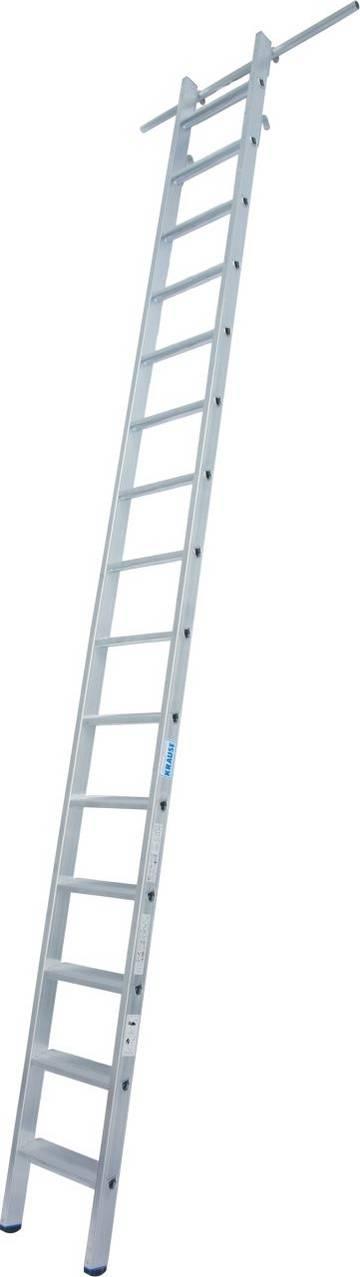 Aluminium-Stufen-Regalleiter mit Einhängehaken für Rundrohrschienenanlagen mit einem Rohrdurchmesser (Ø 30 mm).