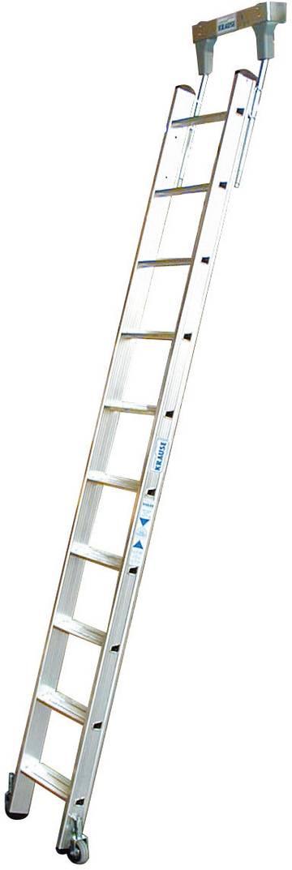 Aluminium-Stufen-Regalleiter mit integriertem Kopffahrwerk-System für Rundrohrschienenanlage (Ø 30 mm).