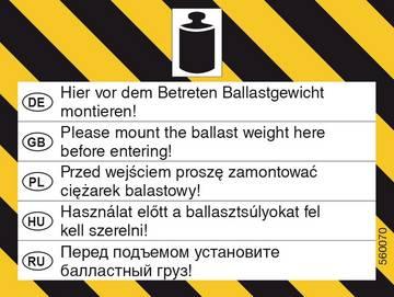 Warnhinweis Ballastgewicht