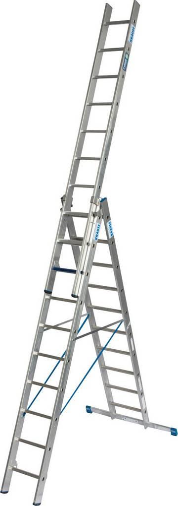 Dreiteilige Aluminium-Vielzweckleiter mit Stufen/Sprossen-Kombination für TRBS 2121-2-konforme Anwendung. Durch die neue, innovative Stufen/Sprossen- Kombination in einer Leiter kann diese als Verkehrsweg und als Arbeitsplatz  verwendet werden. Einsetzbar als Anlege-, Schiebe- und Stehleiter mit ausschiebbarem und, durch die KRAUSE Trigon-Traverse, einzeln herausnehmbarem und nutzbarem Leiternteil.