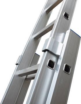 Sprossen-Schiebeleiter, zweiteilig - Stabile holmumgreifende Aluminium-Führungsprofile für eine hohe Stabilität