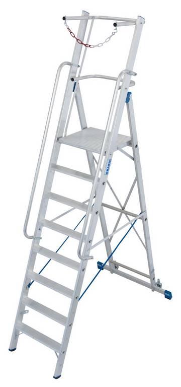 Fahrbare Stufen-Plattformleiter mit großer, komfortabler Standfläche und umlaufender Absicherung.