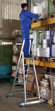 Anwendungsbeispiel Stufen-Stehleiter, fahrbar mit Traverse