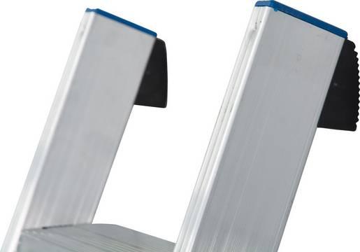 Stufen-Anlegeleiter +S, einteilig - Sichere Anwendung durch integrierten Abrutsch-/Anlegeschutz