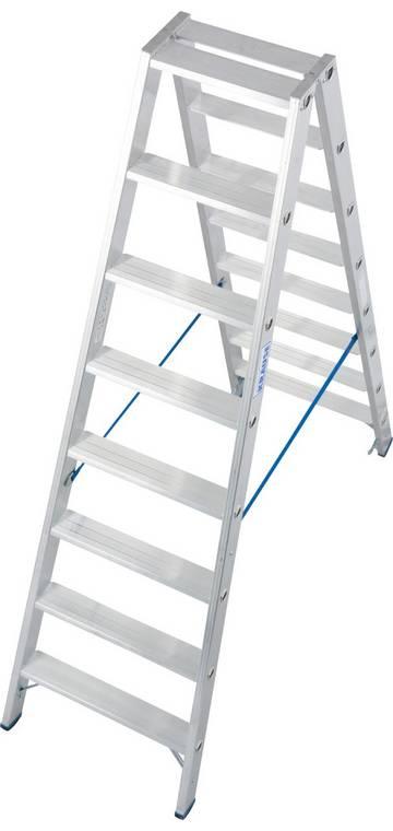 Entwickelt für professionelle Einsatzzwecke, bietet diese Aluminium-Stufen-Doppelleiter hohe Standsicherheit im täglichen, harten Arbeitseinsatz.