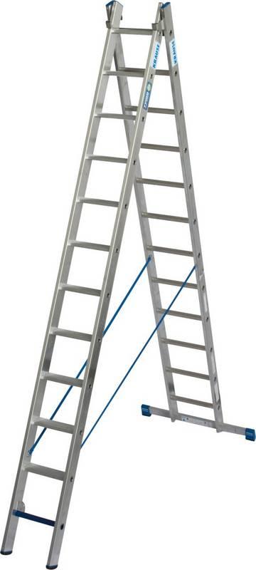 Leichte, zweiteilige, professionelle Aluminium-Mehrzweckleiter mit Stufen/Sprossen-Kombination für TRBS 2121-2-konforme Anwendung. Verwendbar als Anlege- und Schiebeleiter mit Quertraverse. Das Stufenleiternteil der Stehleiter kann ebenfalls als Arbeitsplatz verwendet werden. Durch die neue, innovative Stufen/Sprossen-Kombination in einer Leiter kann diese, je nach Aufstellart, als Verkehrsweg und als Arbeitsplatz verwendet werden.