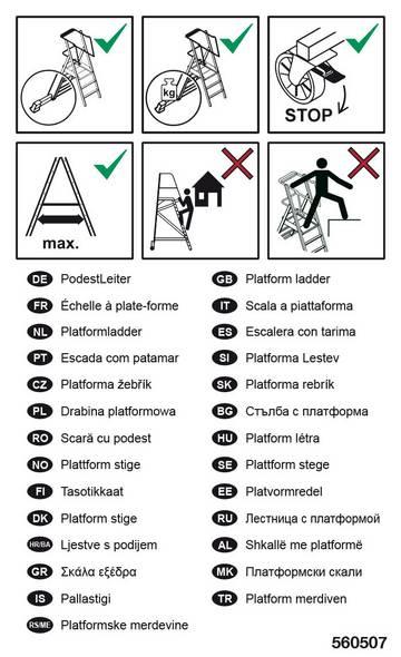 Zur Kennzeichnung von PodestLeitern