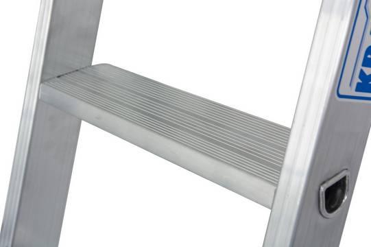 Stufen-Anlegeleiter +S, einteilig - Hochfest verbördelte Stufen-/Holmverbindung