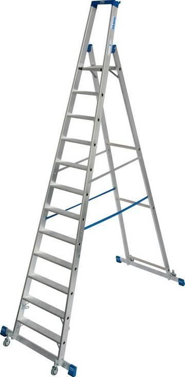 Die robuste, fahrbare Aluminium-Stehleiter mit Traversen für einfache Positionswechsel und hohe Standsicherheit mit praktischer Ablageschale für den professionellen Einsatz.