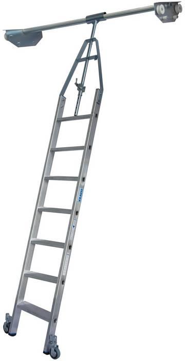 Aluminium-Stufen-Regalleiter mit integriertem Kopffahrwerk-System für Doppelregal, drehbar.