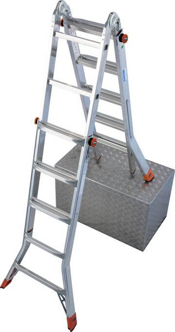 Höhenverstellbare Sprossen-Gelenkleiter, die leicht als Anlegeleiter, beidseitig begehbare, treppengängige Stehleiter oder eine Arbeitsbühne (in Verbindung mit optionalem TeleBoard) eingesetzt werden kann.