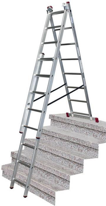 Dreiteilige vielseitig verwendbare Aluminium-VielzweckLeiter. Einsetzbar als Anlege-, Steh- und SchiebeLeiter.