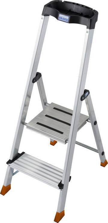 Aluminium-Stehleiter mit extra tiefen Stufen und großer ergonomischer Multifunktionsschale.