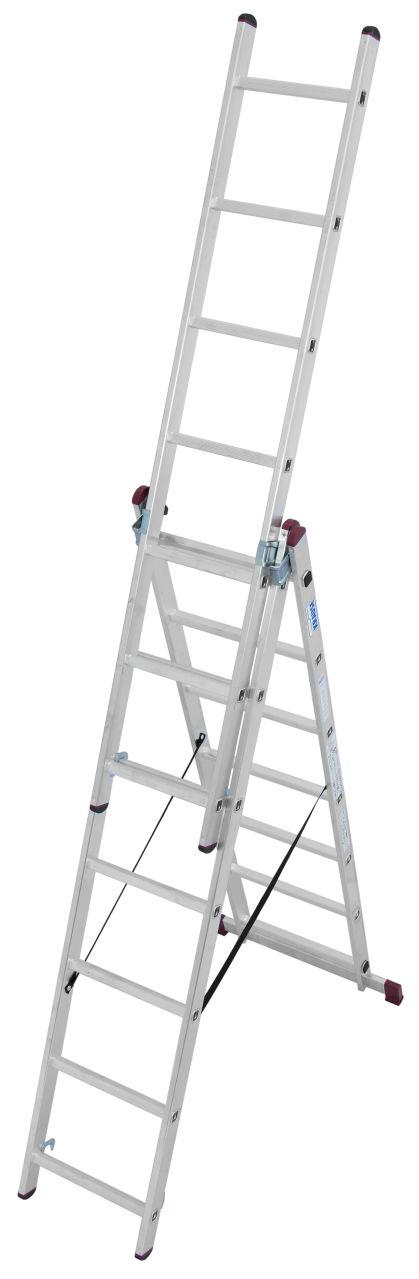 Alu Vielzweckleiter-Dreiteilige vielseitig verwendbare Aluminium-Vielzweckleiter: einsetzbar als Anlegeleiter, Stehleiter und Schiebeleiter