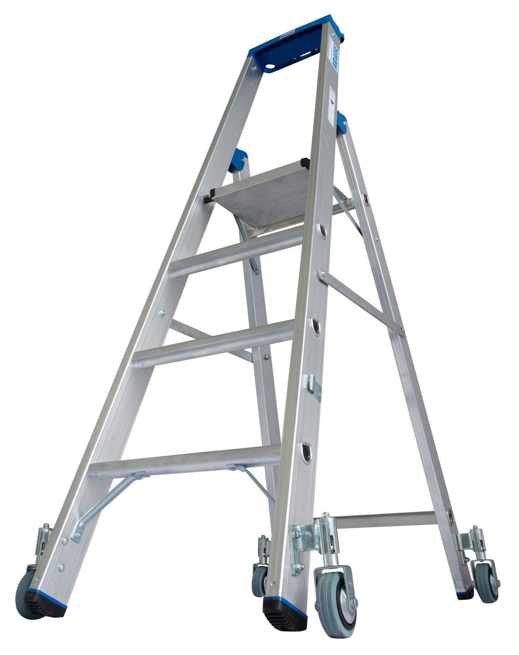 Arbeitsh/öhe: 2,42 m KRAUSE Stabilo SicherheitsTritt fahrbar 360/° drehbar