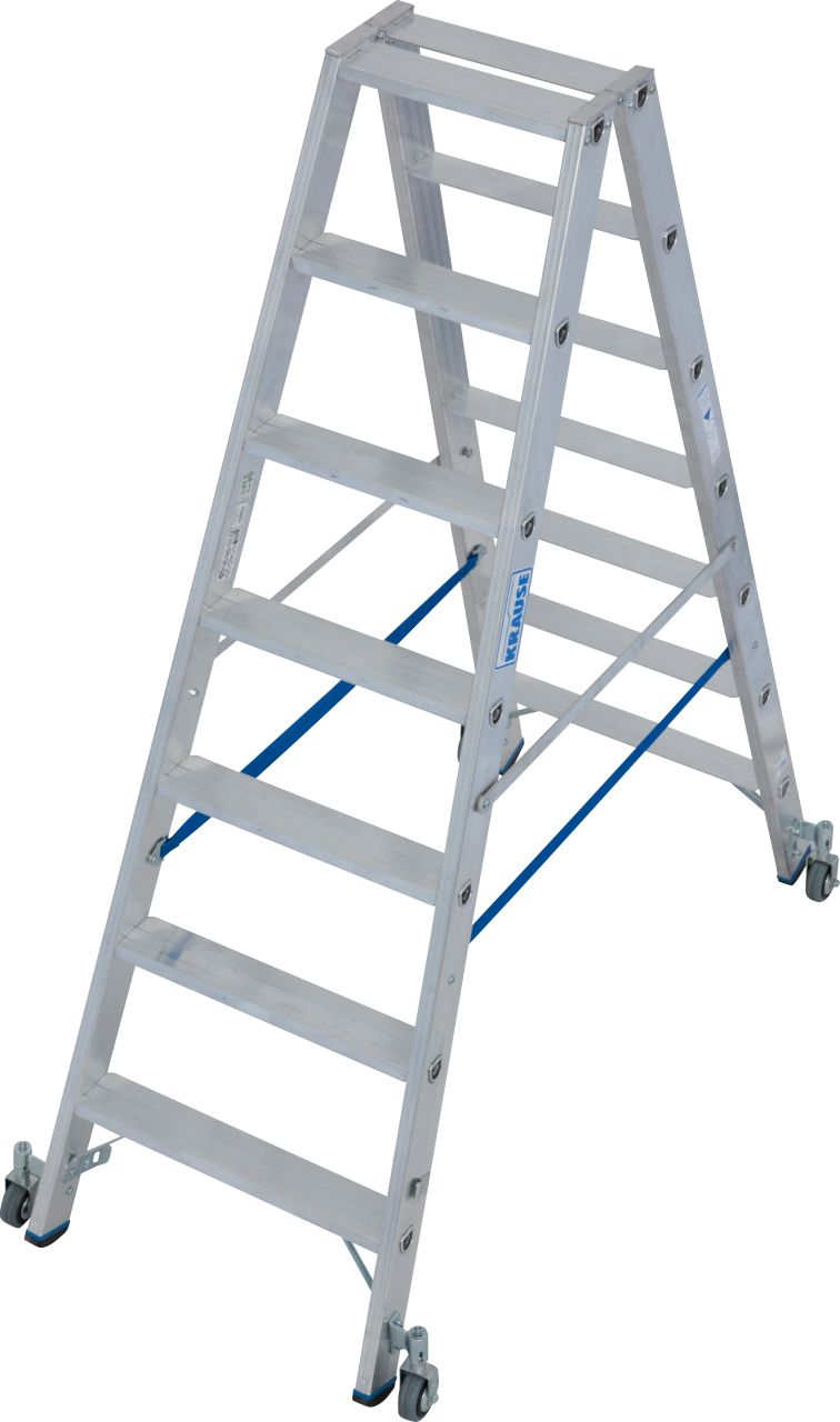 Stufen-Doppelleiter, fahrbar. Robuste Stufen-Doppelleiter für professionelle Einsatzzwecke. Ausgestattet mit Fahrrollen für schnelleres und leichteres Verfahren der Leiter