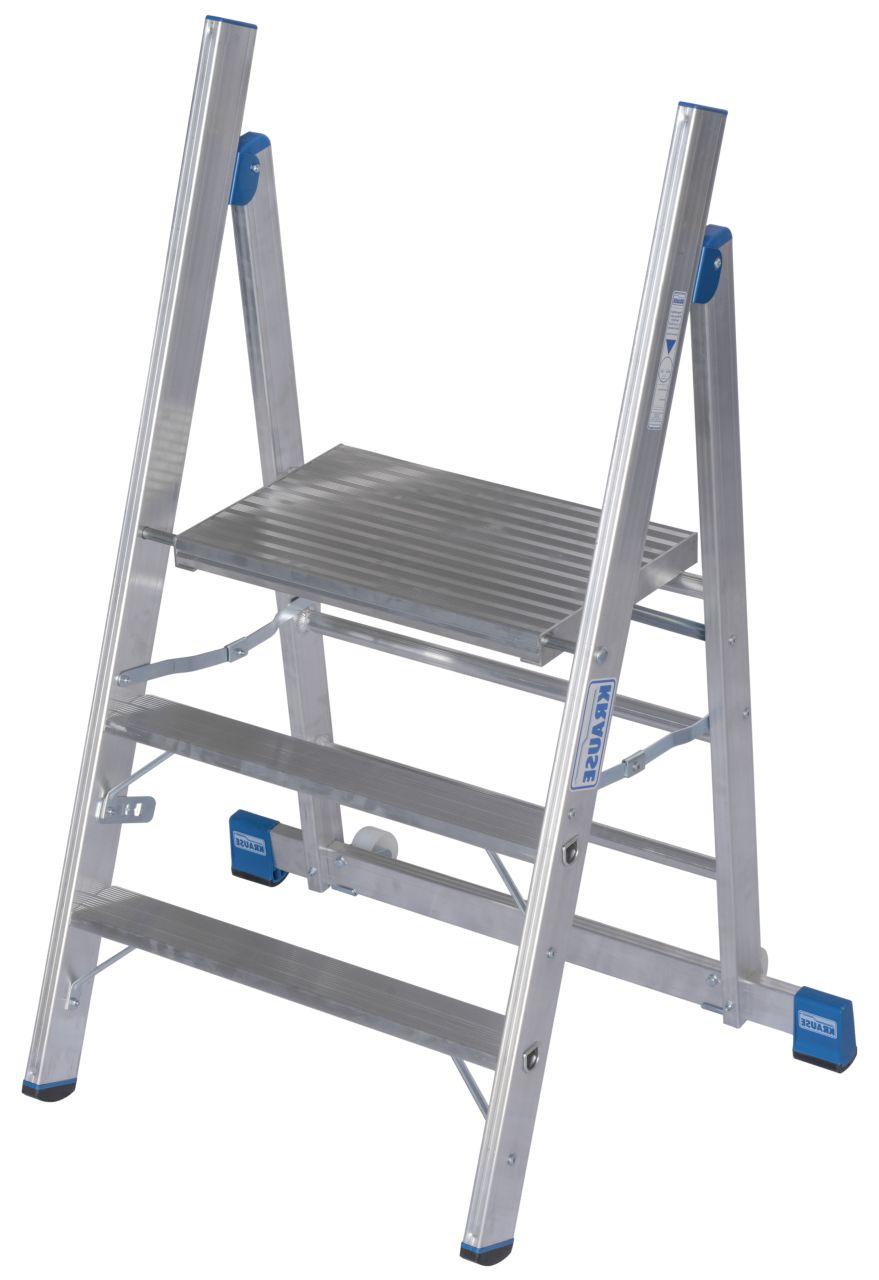 Profitritt. Der Aluminium-Profitritt besitzt eine große Plattform, ist leicht verfahrbar, klappbar und erlaubt dank eines nahezu senkrechten Stützteils nahes Arbeiten am Objekt.