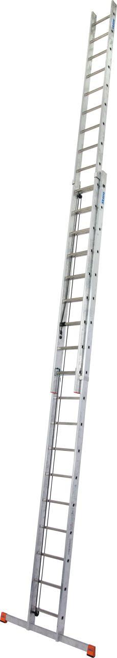 Sprossen-Seilzugleiter Robilo zweiteilig. Leichte, zweiteilige Aluminium-Sprossenseilzugleiter mit komfortabler Höhenverstellung
