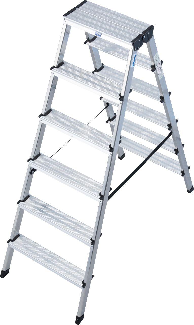 Stufen-Doppelleiter Dopplo Leichte, beidseitig begehbare Aluminium-Stehleiter für Arbeitshöhen bis 3,30 m (8-stufige Variante)