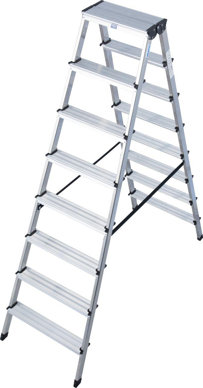 2 x 7 Stufen Aluminium-Doppelleiter 2 x 2 m
