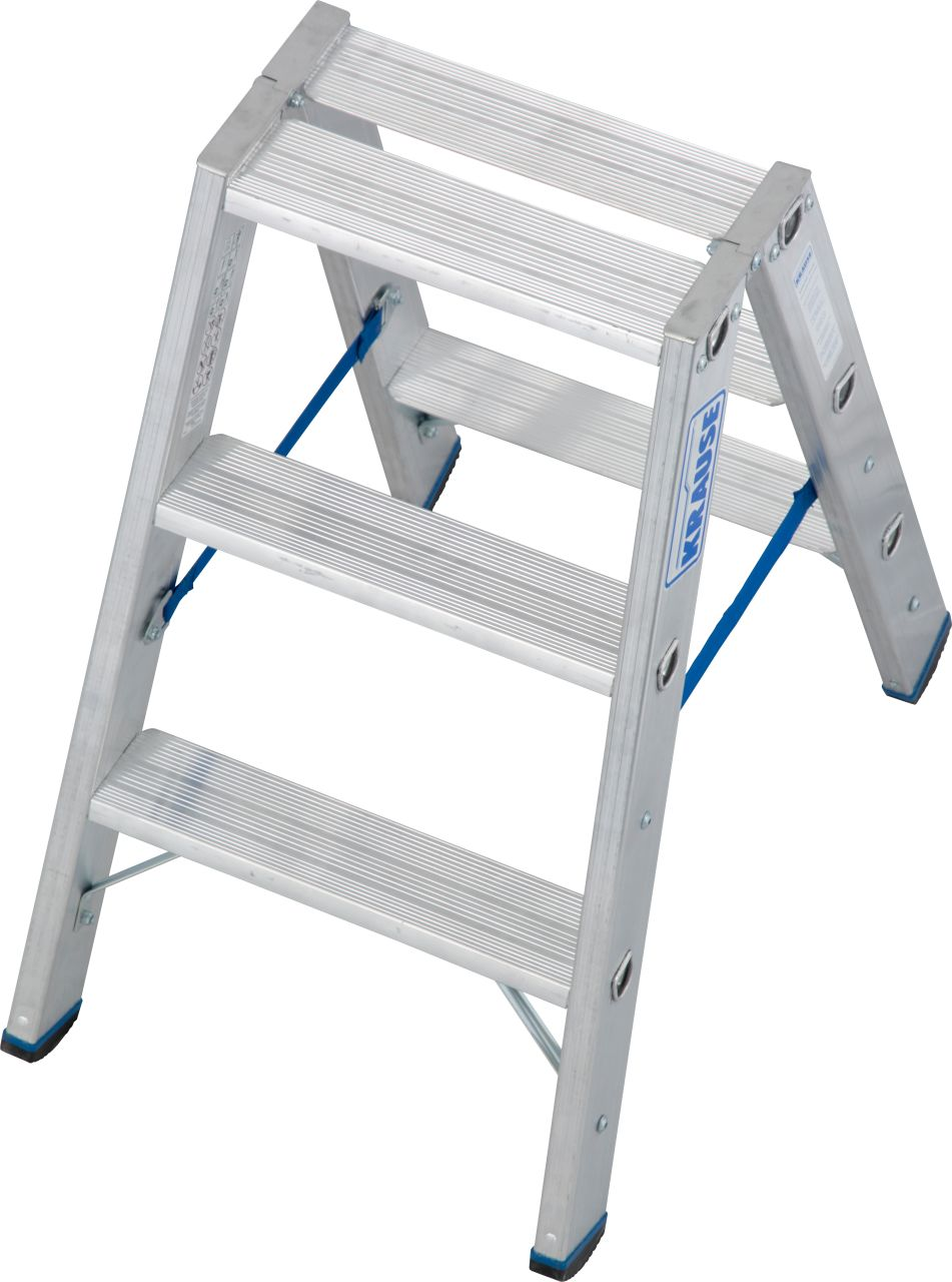 Stufen-Doppelleiter. Entwickelt für professionelle Einsatzzwecke, bietet diese Aluminium-Stufen-Doppelleiter hohe Standsicherheit im täglichen, harten Arbeitseinsatz