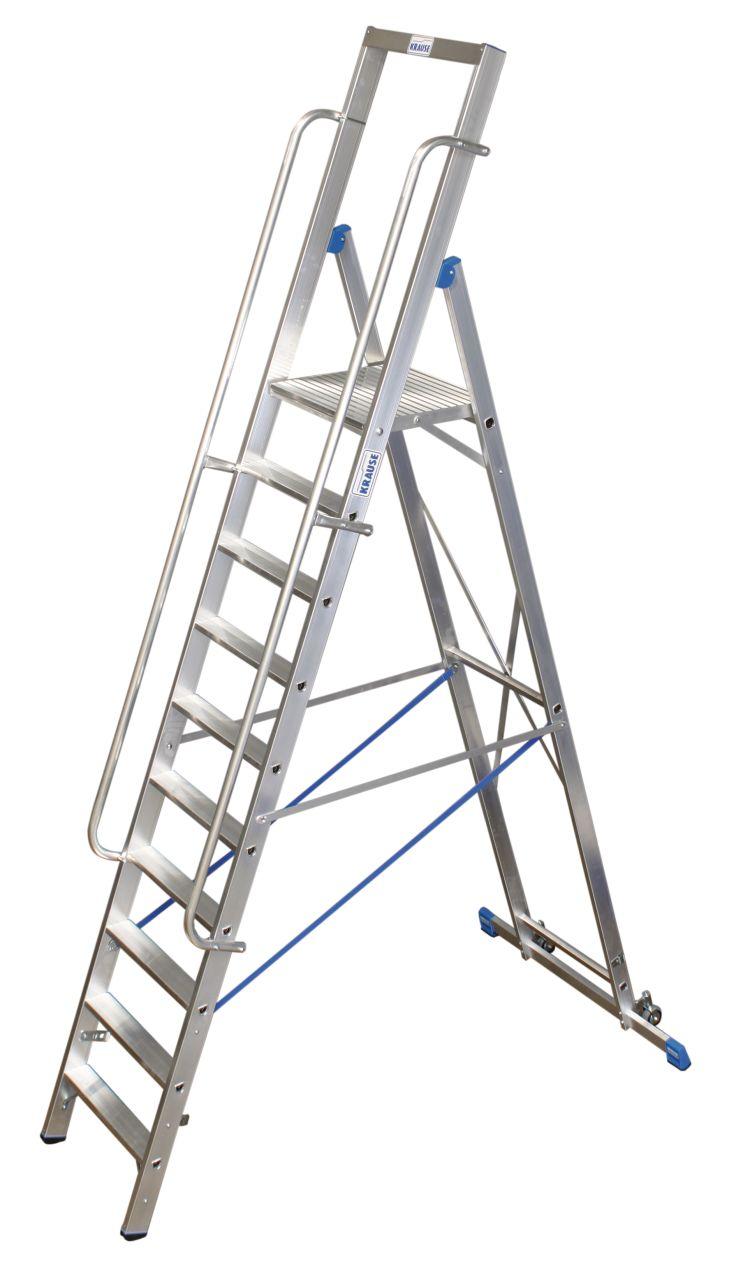 Stufen-Stehleiter mit großer Standplattform. Fahrbare Stufen-Plattformleiter mit großer, komfortabler Standfläche und Sicherheitsbügel