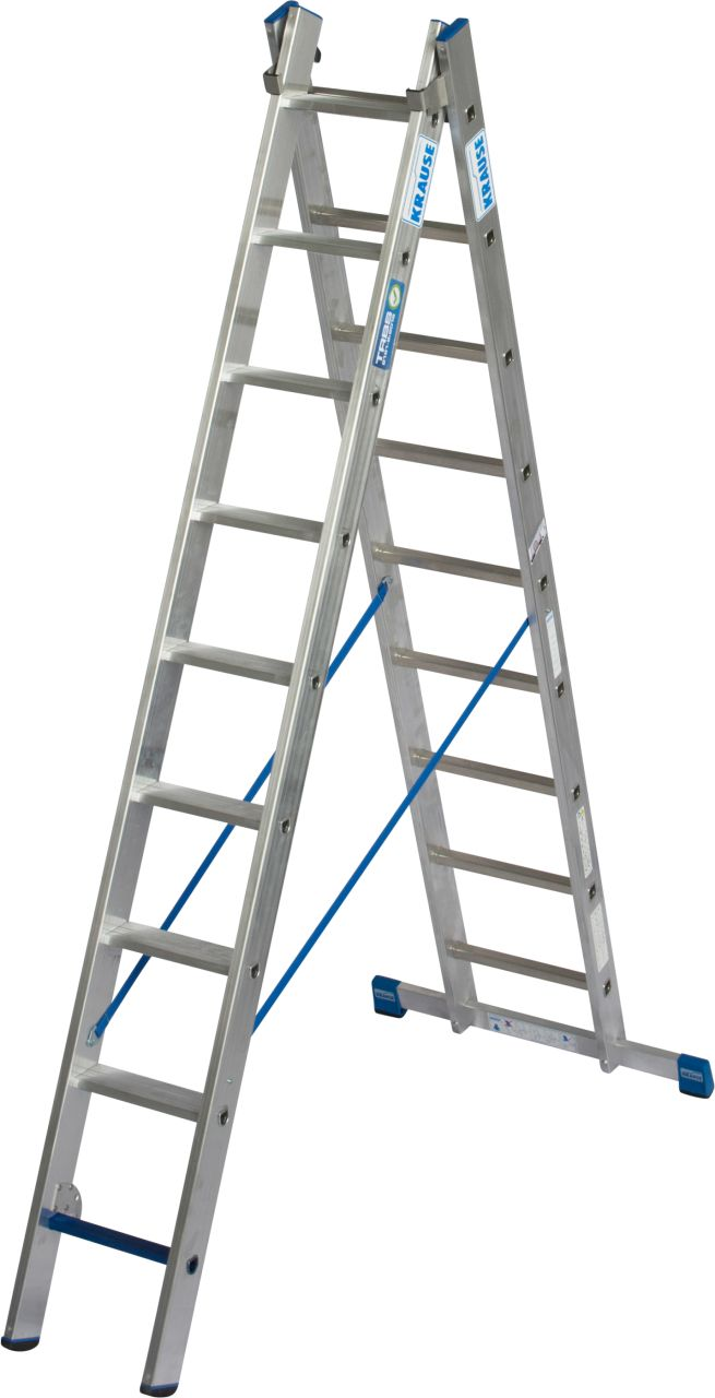 Mehrzweckleiter +S. Leichte, zweiteilige, professionelle Aluminium-Mehrzweckleiter mit Stufen/Sprossen-Kombination für TRBS 2121-2-konforme Anwendung.