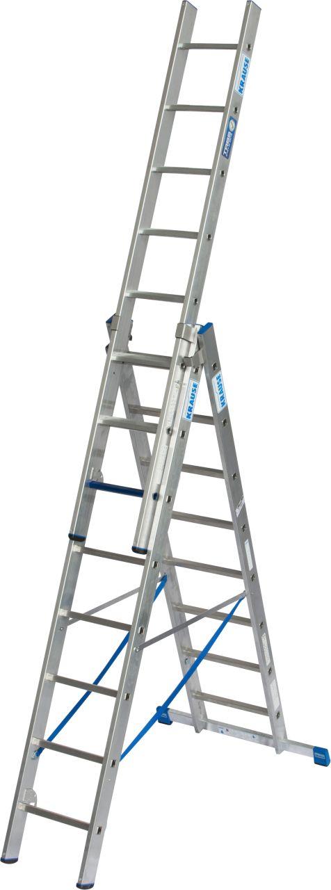 Vielzweckleiter +S. Dreiteilige Aluminium-Vielzweckleiter mit Stufen/Sprossen-Kombination für TRBS 2121-2-konforme Anwendung.
